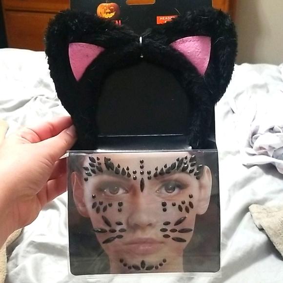 Cat ears headband with face gems